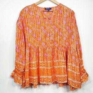 RD & koko Orange Shimmer Floral Ruffle Blouse